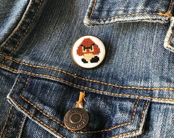 Goomba Mario Bros. Cross Stitch Pin