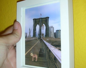 Brooklyn Bridge Stroll,Mini framed picture, Quirky WolfOwl takes a walk on the Brooklyn bridge,NYC