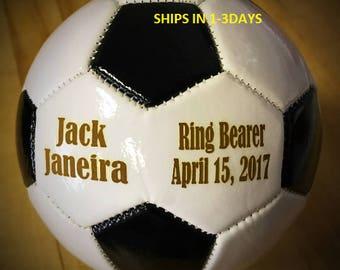Ring Bearer Gift, Personalized Soccer Ball, Mini Soccer ball, Groomsmen Gift, Gender Reveal, Sports Gift, Christmas Gift, Keepsake