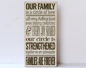 Our Family, Circle of Love, Wood Sign, Farmhouse Decor, Modern Farmhouse, Gallery Wall Sign, Wooden Sign, Rustic Wood Sign, Family Room