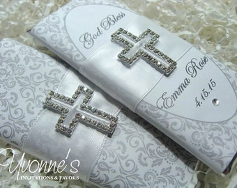 Communion Candy Bar Wrapper- Chocolate Bar Favors - Bling Cross - White and Silver - for Christening/Baptism/Communion/Religious Event