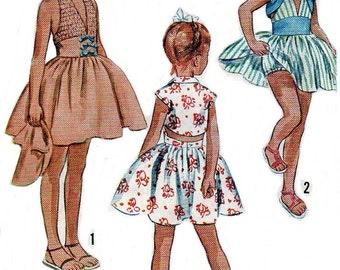 Vintage 1950s Sewing Pattern Girls Halter Sun Dress Bolero Jacket Sz 7 - 8 COPY Reproduction