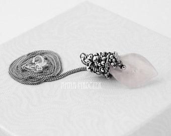 Rose quartz pendant, wire wrapped pendant, sterling silver, calla pendant, oxidized, silver flower pendant, light pink, 925, wire wrap
