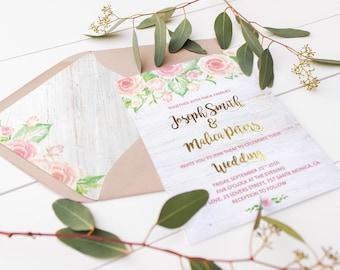 Blush Pink Envelope Liner Template A7 Envelope Liners Instant Download Watercolor Floral Envelope Liner Wedding Stationary
