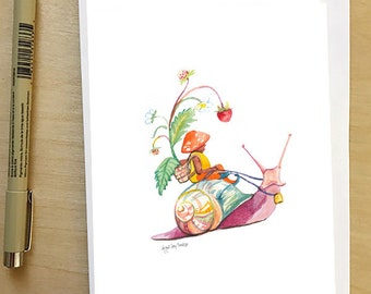 Gnome on a snail, greeting card by Abigail Gray Swartz, 5x7 floral and fauna, fairytale