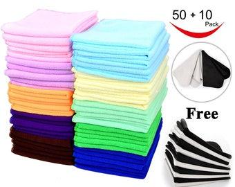 60 Microfiber Cleaning Cloth Pack , 50 Microfiber Cloth, 10 Glass Cloth