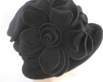 Flapper Cloche - Polar Fleece Ladies Hat - Giant Rose - Charlotte