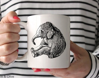 Elephant Mug, Baby Elephant Coffee Mug, Cute Coffee Mug, Gift for Elephant Lover, Coffee Lovers Gift, Baby Animal Mug A0001
