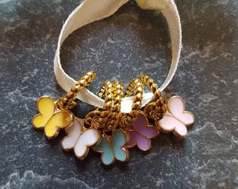 5 small  knitting stitch markers. Spring butterflies
