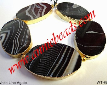 Beautiful Natural White Line Agate with Gold Lining!!!!!