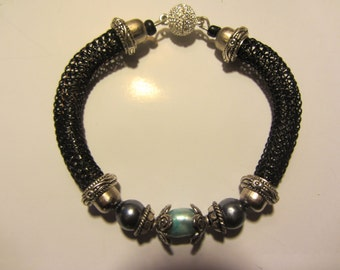 Hand knitted bracelet  black, Silver & turquoise pearl