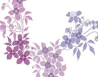 Large Montana Clematis Flower Theme Pack Stencil