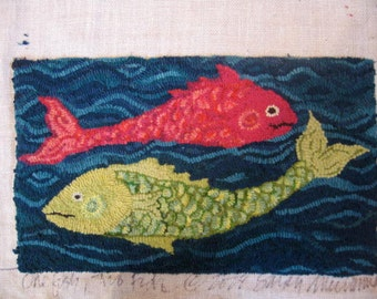 "Rug Hooking PATTERN ""One Fish Two Fish"" Hand-drawn on Linen"