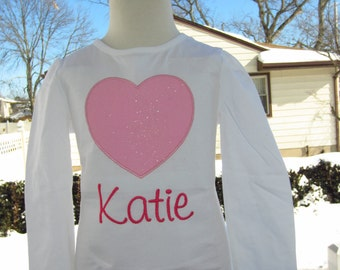 Glittery heart top any color heart shirt Valentines shirt personalized valentine shirt