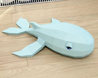 Papercraft Whale, DIY Paper project, 3D paper model, PDF template, paper sculpture, craft for kids, diy gift toy, pepakura, origami, do it