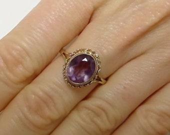 vintage amethyst ring, gold amethyst ring, vintage gold ring, amethyst ring, purple stone ring, February birthstone ring, birthstone ring