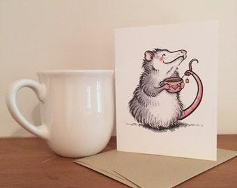 Cute Tea-Loving Possum Blank Greeting Card