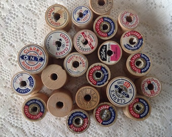 Twenty-three empty wood thread spools | Coat and Clarks | Talon | J  and P  Coats |