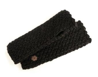 Black mittens, big mesh 100% natural color alpaca, hand-made