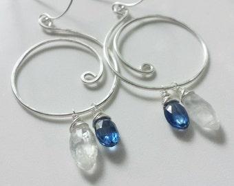 On Hold For Sally Blue Kyanite Earrings, Rainbow Moonstone Earrings, Sterling Silver Earrings, Silver Swirl Kyanite Earrings
