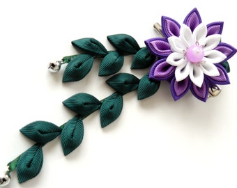 Kanzashi Fabric Flower hair clip with falls.  Purple, white and green.