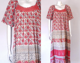 Meera dress  | 70s indian cotton dress | vintage 70s cotton bohemian dress