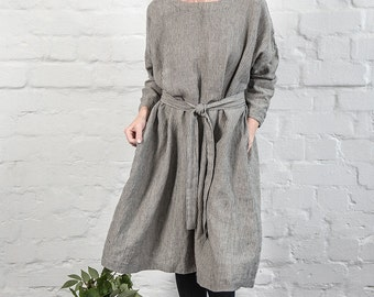 Oversized loose fitting linen dress with drop shoulder long sleeves in stripes