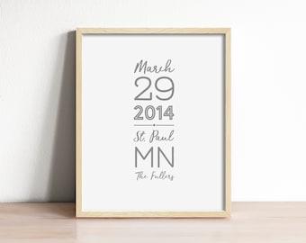 wedding date print, personalized wedding art, first anniversary gift, paper wedding gift, wedding gift for couple, personalized wedding gift