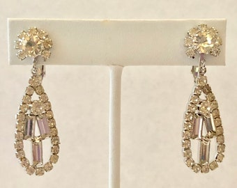Vintage Clear Rhinestone Long Dangle ~ Clip-On Earrings FREE SHIPPING