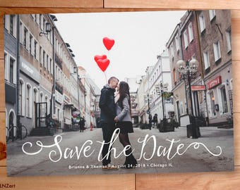 Save the Date Card, Save the Date Photo Announcement, Engagement Announcement, Wedding, Full Bleed Photo Card, Custom Save Our Date