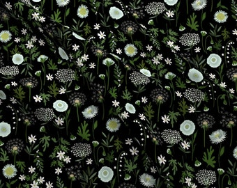 Night Wildflowers Fabric - Fleur Iveta Abolina By Onesweetorange - Floral Garden Botanical Spring Cotton Fabric By The Yard With Spoonflower