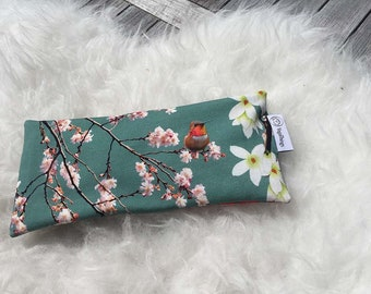 Eye pillow japanese birds for yoga and meditation with lavender and flaxseed, lavender eye pillow, eye mask, aromatherapy eye pillow