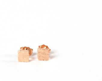 rose vermeil crosshatched tiny square silver stud earrings