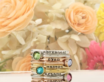 Personalized Mothers Rings - Hand Stamped Ring, Personalized ring, Stacking mothers rings, stamped name ring - stacking birthstone rings