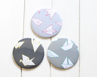 Pocket Mirror - Origami - Cute Gift - Unique Gift - Paper Planes - Paper Boats - Origami Crane - Make Up Bag  Round Mirror 76mm Illustration