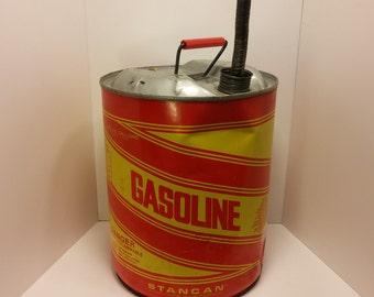 Vintage STANCAN Steel Gasoline Can - 1970s - Vintage garage, vintage workshop, gasoline station, vintage automobile, Filling station