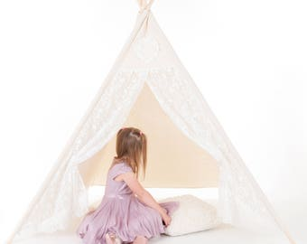 Vintage Lace Children's Teepee .Canvas Princess Cream Kids Teepee. love heart Tipi Play Tent for Indoor or Outdoor.