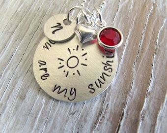 You are my sunshine, personalized necklace, birthstone, heart, initial, gift for her, daughter, christmas gift