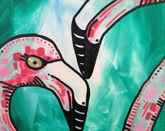Flirty Flamingo original painting 2