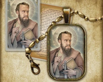 St. Paul the Apostle Pendant and Holy Card GIFT SET #7151