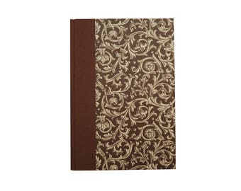 small Address Book, brown Renaissance pattern, gift idea