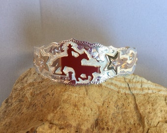 Working Cowhorse Cuff Bracelet with Stars/ Sterling Silver/ 1 20th,12kt gold overlays/ Handmade and Engraved in Oklahoma