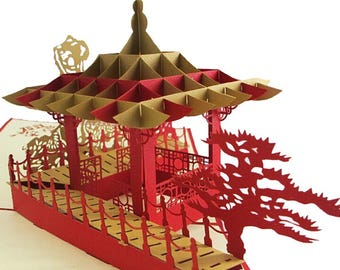 Chinese Pavilion Paper Craft Pop-Up 3D Greeting Cards