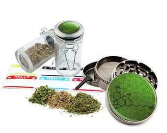 """Leaf Formula - 2.5"""" Zinc Alloy Grinder & 75ml Locking Top Glass Jar Combo Gift Set Item # G50-8715-9"""