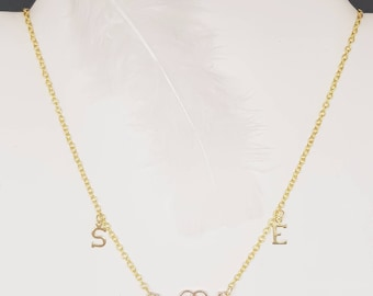 Gold Heart Necklace with initials to personalized