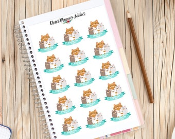 Family Fun Time Planner Stickers | Family Stickers | Cute Cats Stickers | Family Day Stickers | Family Night Stickers (S-123)
