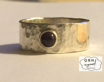 Sterling Silver Hammered Band with Gemstone