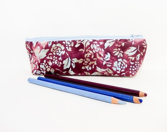 Pencil Case/ Gift for Her/ Batik Make Up Bag/ Gift for Women/ Coworker Gift/ Mothers Day Gift/ Gift for Mom/ BFF Gift/ Wife Gift/ Boho Pouch