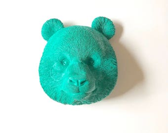 TEAL Panda Bear Faux Taxidermy Wall Mount Faux Animal Head painted in Teal / Girls Room decor Faux Taxidermy Panda Head Kids Room decor