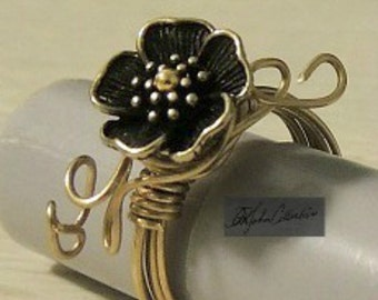 Sweet, Sweet Sakura Flower Brass Wire Wrapped Ring Size 7.  Free Shipping within US